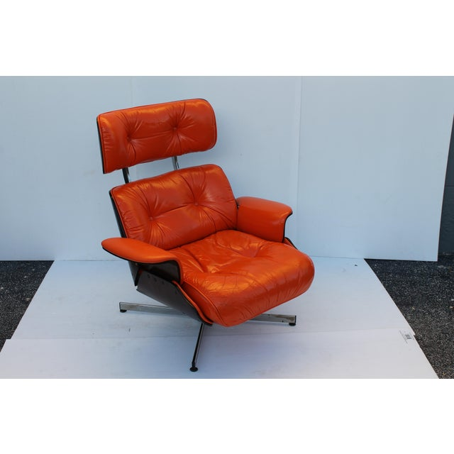 Mid-Century Modern Orange Leather Recliner - Image 3 of 11