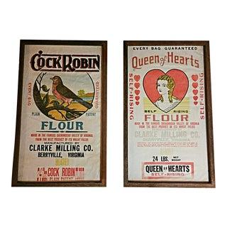 Framed Queen of Hearts & Cock Robin Linen Flour Sacks - Pair For Sale