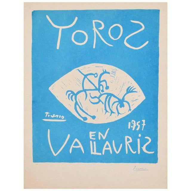 Turquoise Picasso Linocut Toros Vallauris 1957 Signed Arnera 38/200 For Sale - Image 8 of 8
