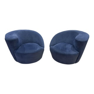 Modern Vladimir Kagan for Directional Nautilus Ultrasuede Swivel Chairs- a Pair For Sale