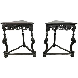 Rococo Style Triangular Carved Walnut Tables - A Pair For Sale