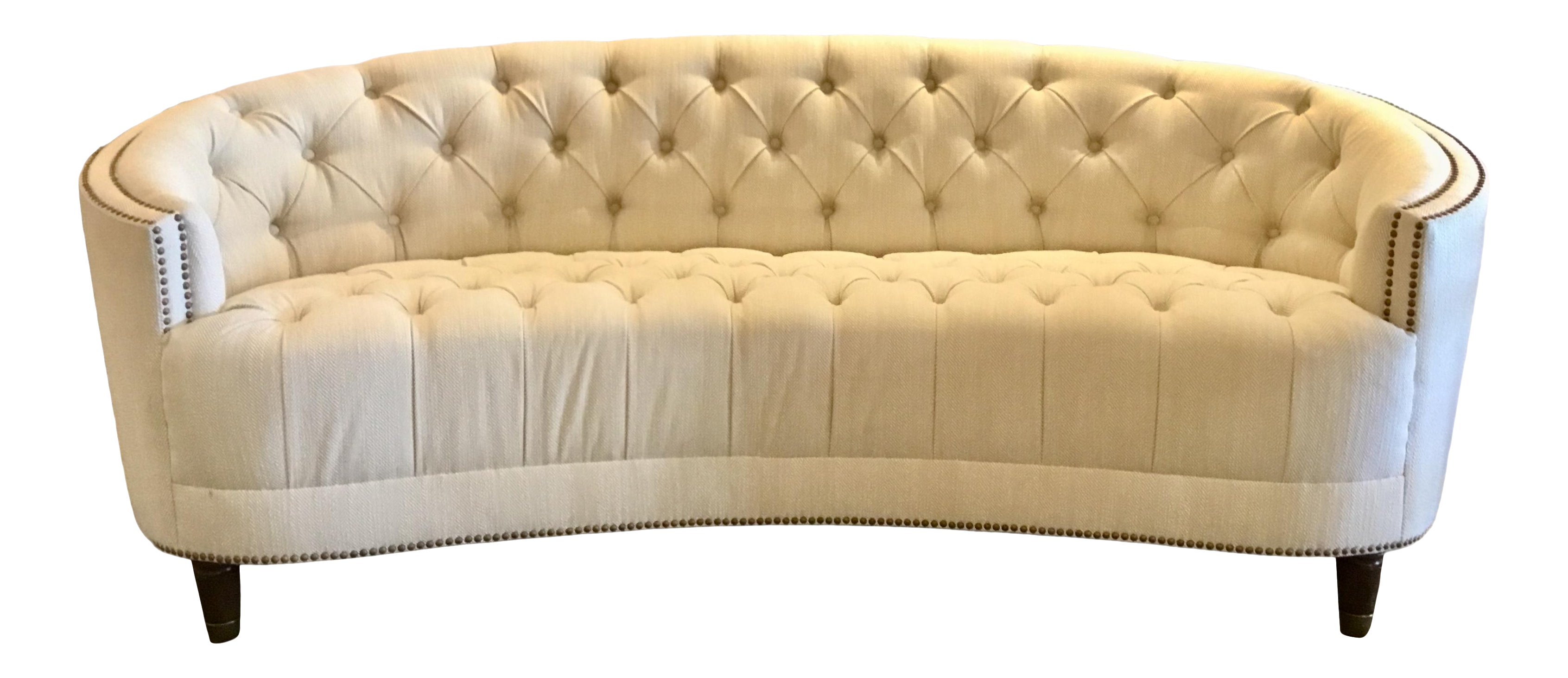 Caracole Transitional Tufted Gray And White Curved Sofa