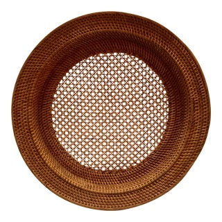 Antique Rattan & Cane Serving Tray