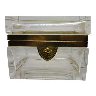 1940s Italian Murano Clear Art Glass Casket Box