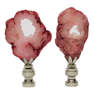 Pair of Custom Made Geode Finials in Deep Coral Pink For Sale