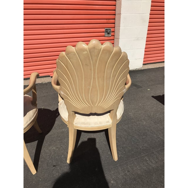 Tan Grotto Italian Carved Wood Seashell Shell Back Dining Chair For Sale - Image 8 of 12