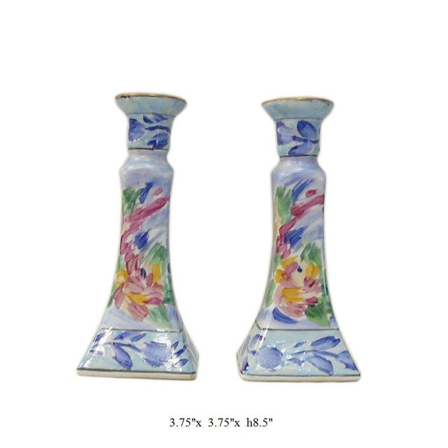 2000 - 2009 Chinese Porcelain Color MIX Graphic Candle Holders - a Pair For Sale - Image 5 of 6