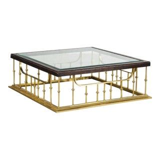 Elegant Gilt Bronze Glass Top Square Cocktail Table For Sale