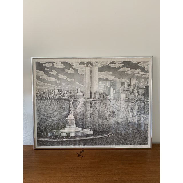 Black Vintage New York City Pen and Ink Drawing For Sale - Image 8 of 8