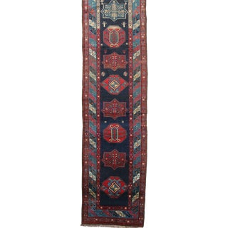 Antique Authentic Persian Karadja Runner Rug - 3′5″ × 14′ For Sale
