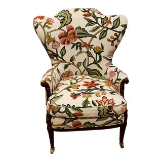 Antique Chair With Couture Floral Fabric For Sale