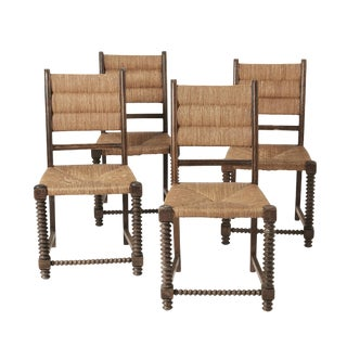Vintage Mid-Century Primitive Rush and Wood Dining Chairs- Set of 4 For Sale