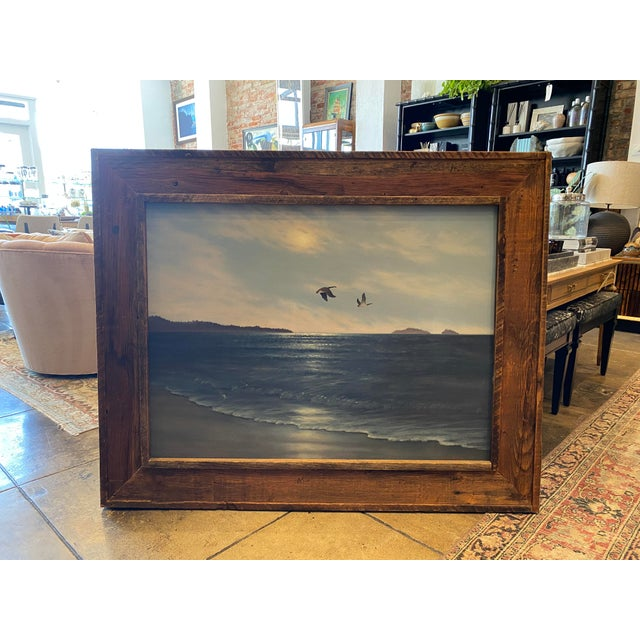 """""""Geese in Flight"""" Vintage Oil Painting For Sale - Image 11 of 11"""
