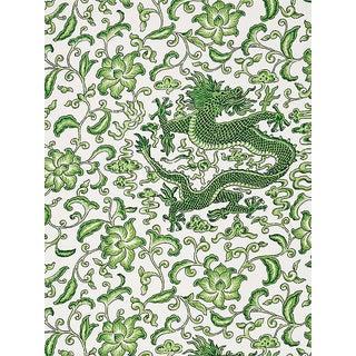 Sample, Scalamandre Chi'En Dragon Linen Print, Jade Fabric For Sale