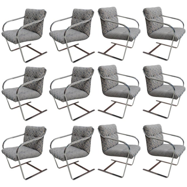 Black Chrome Dining Chairs by Brueton Eight Available For Sale - Image 8 of 8