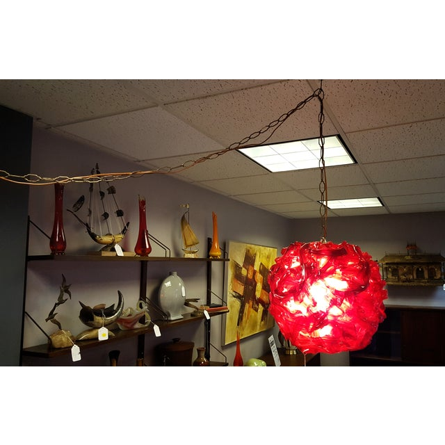 """Mid Century """"Spun Glass"""" Red and White Swag Light - Image 3 of 6"""
