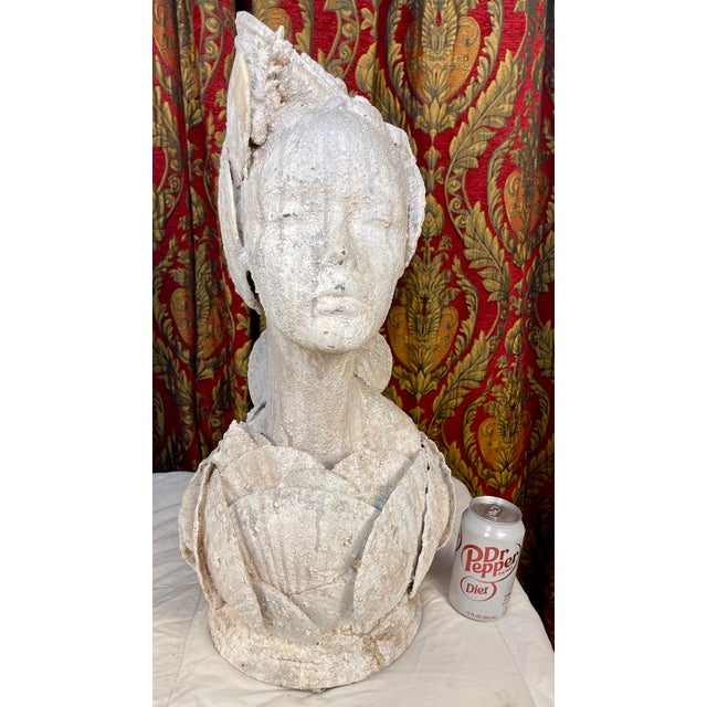 """Sea Queen"" bust with faux concrete finish over sea shells. Beautiful unique item is a compliment to almost any decor."