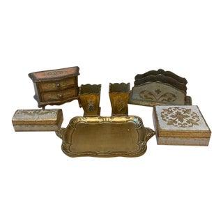 Mid Century Italian Florentine Desk Accessories For Sale