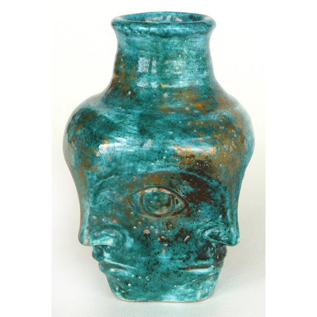 Mid 20th Century Edouard Cazaux French Mid-Century Ceramic Vase With Faces For Sale - Image 5 of 10