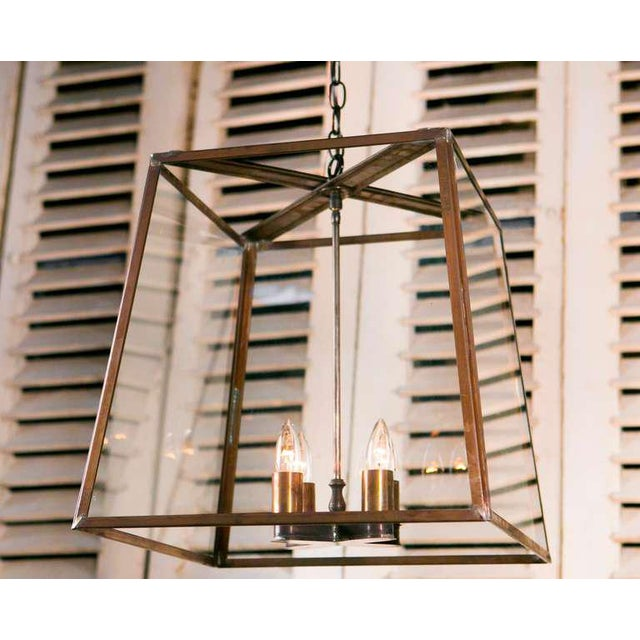 """Contemporary Large Custom """"Butler"""" Hand-Made, American Brass and Glass Lantern For Sale - Image 3 of 3"""