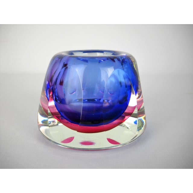 Glass Flavio Poli Faceted Murano Glass Vase For Sale - Image 7 of 10