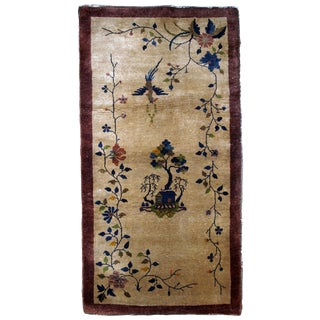 1920s Handmade Antique Art Deco Chinese Rug 2.10' X 5.10' For Sale