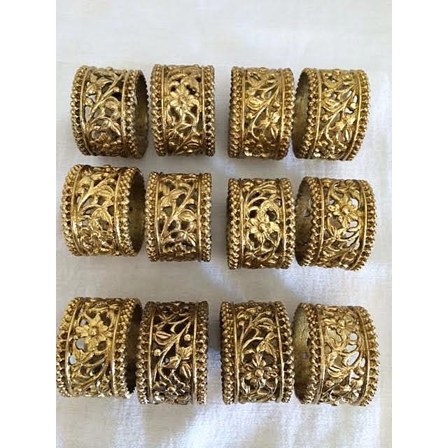 Asian Vintage Brass Floral Filigree Napkin Rings - Set of 12 For Sale - Image 3 of 5