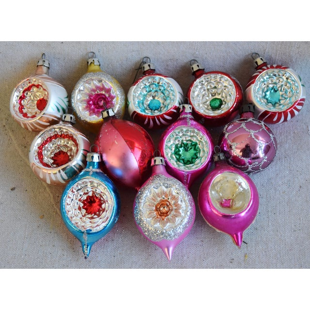 Midcentury Vintage Colorful Christmas Ornaments W/Box - Set of 12 For Sale - Image 4 of 9