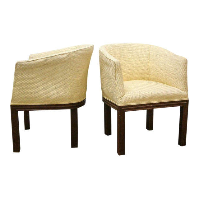 Circa 1950 Mid-Century Upholstered Yellow Arm Chairs - Pair For Sale