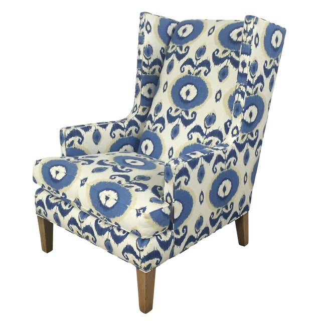 Crate & Barrel Patterned Wingback Chair - Image 1 of 10