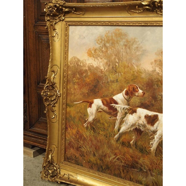 French Antique Hunting Dog Painting by Maurice Etienne Dantan For Sale - Image 3 of 11