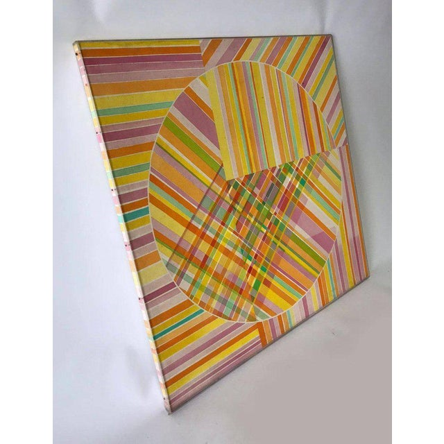 Mid-Century Modern Hard Edge Optical Art Painting, Signed, Circa 1960s For Sale - Image 9 of 13