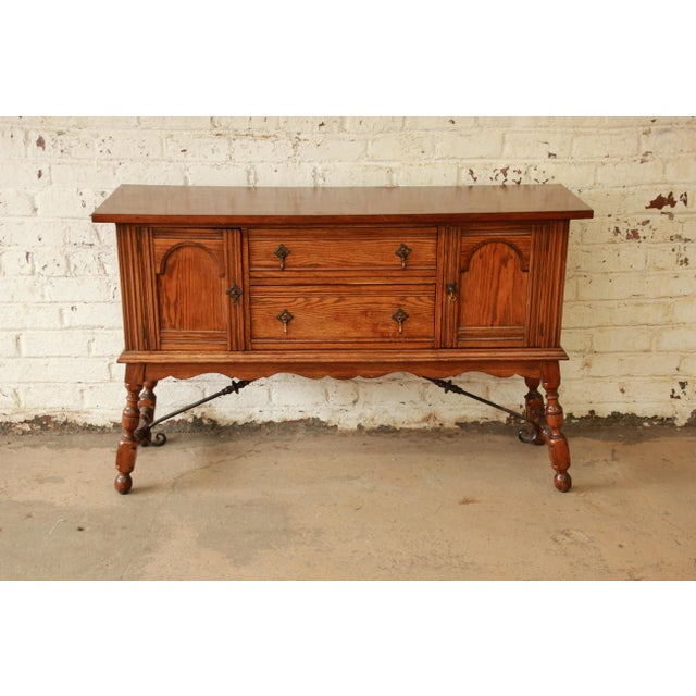 Antique Baker Furniture Oak Sideboard Buffet - Image 4 of 11 - Antique Baker Furniture Oak Sideboard Buffet Chairish
