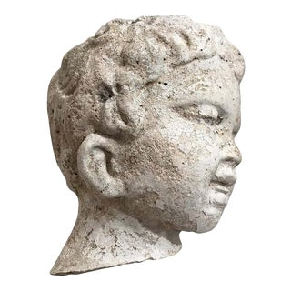 Vintage Garden Statue Fragment of Boy in Cast Stone, France, circa 1990s For Sale