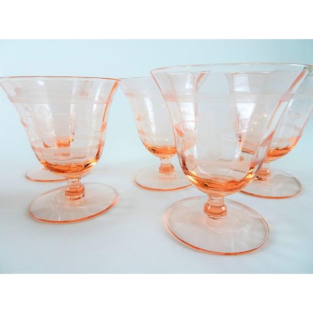 Etching Early 20th Century Vintage Depression Era Etched Blush Pink Short Stem Glasses- Set of 6 For Sale - Image 7 of 8