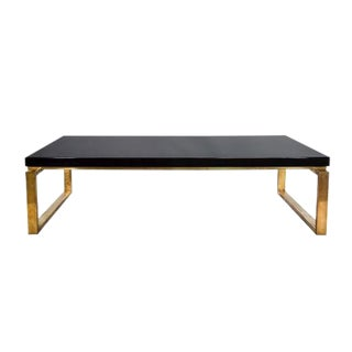Maison Charles Black Lacquer Top Coffee Table on Brass Base For Sale