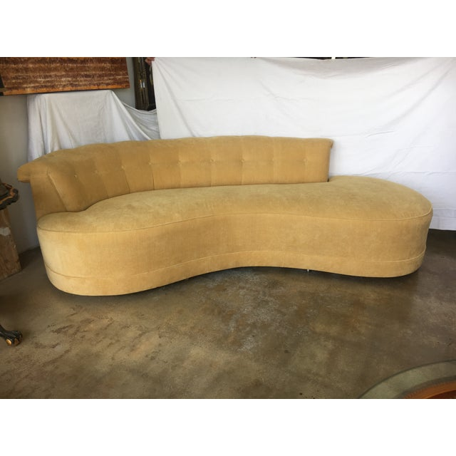 Curved Yellow Leather Sofa: 1940s Yellow Low Pile Velvet Curved Sofa