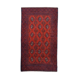Vintage Mid-Century Hand-Knotted Pakistani Bokhara Wool Rug - 3′9″ × 6′7″ For Sale