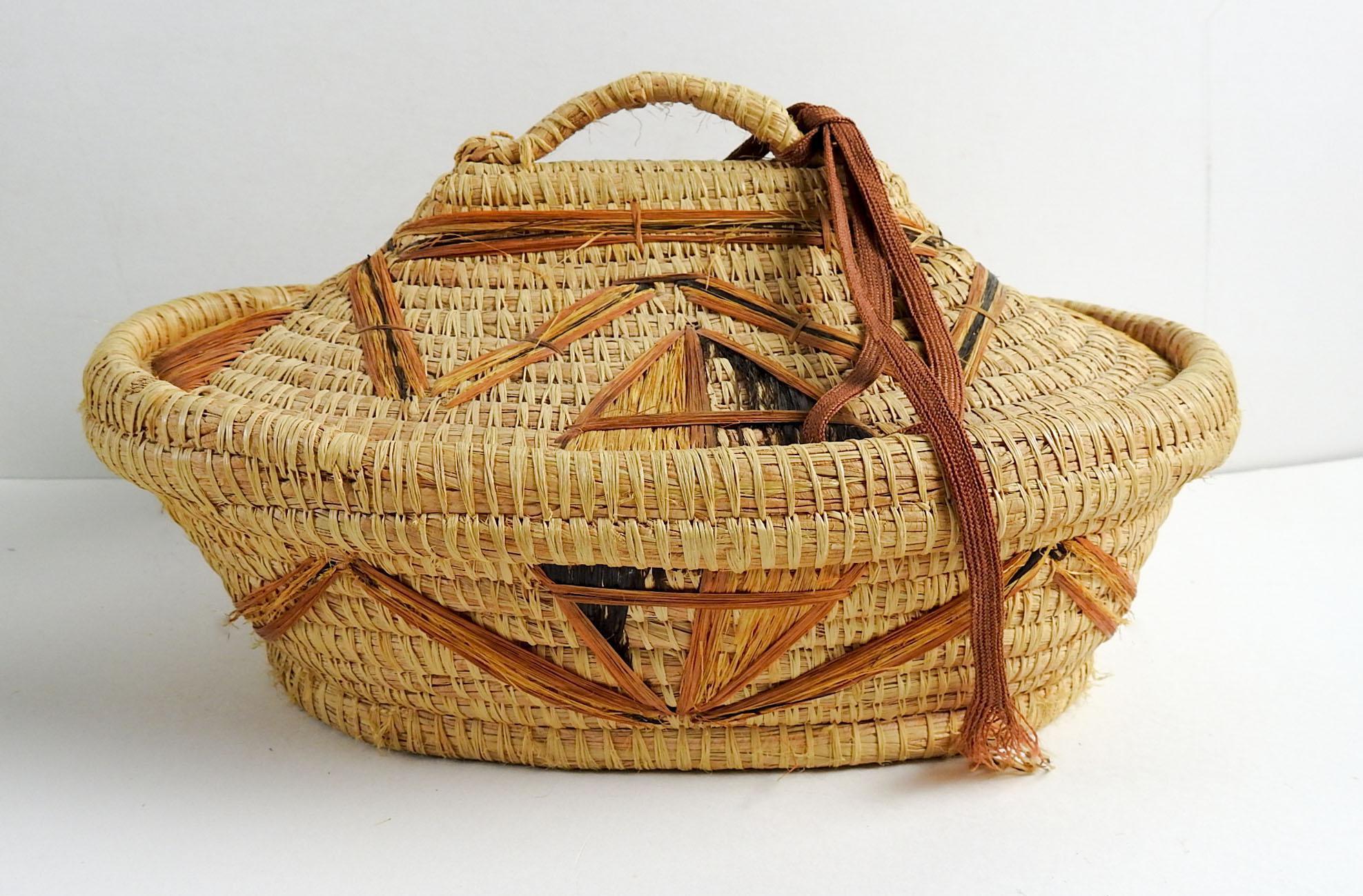Coil Grass U0026 Raffia Woven Lidded Basket   Image 2 Of 10