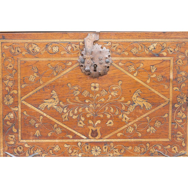 Spanish Vine Motif Wood Inlay Bargueno For Sale - Image 4 of 13