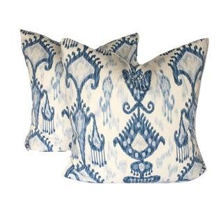 Contemporary Robert Allen Blue and White Ikat Pillows - a Pair