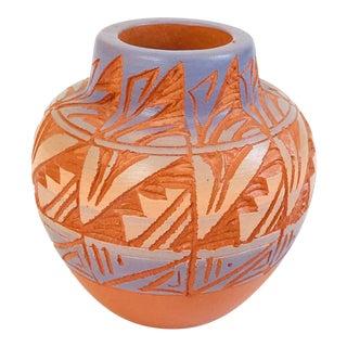 Vintage Hand Carved Navajo Pottery Bud Vase For Sale