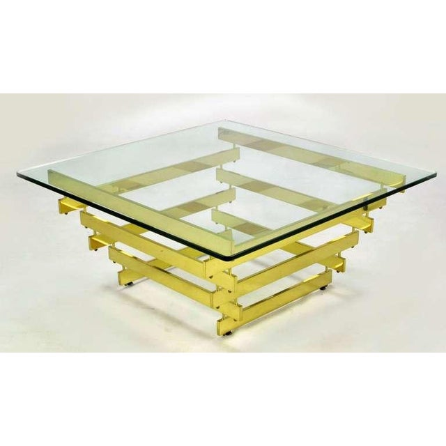 Angelo Testa Architectural Stacked Solid Brass Bar & Glass Coffee Table For Sale - Image 4 of 9