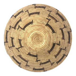 African Deer Motif Woven Basket For Sale