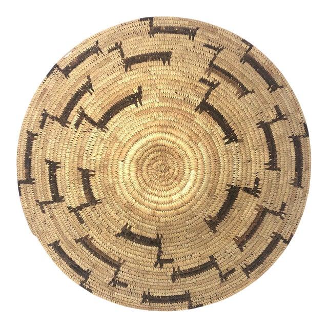 African Deer Motif Woven Basket For Sale