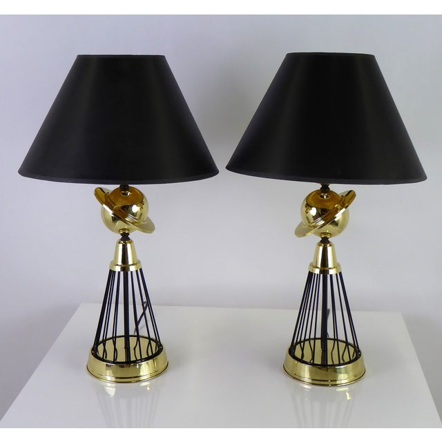 1940s Vintage Modern Brass and Wire Saturn Table Lamps- A Pair For Sale - Image 12 of 13