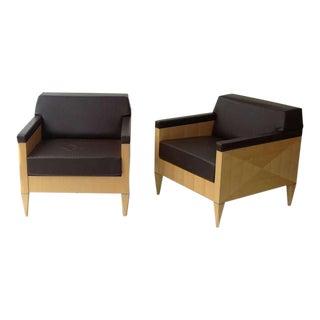 Maple Lounge Chairs designed by Ken Rainhard for Gunlocke - A Pair