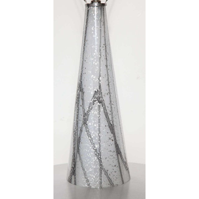 Modern 1960s Seguso Murano Glass Shimmering White Table Lamp With Silver Inclusions For Sale - Image 3 of 9