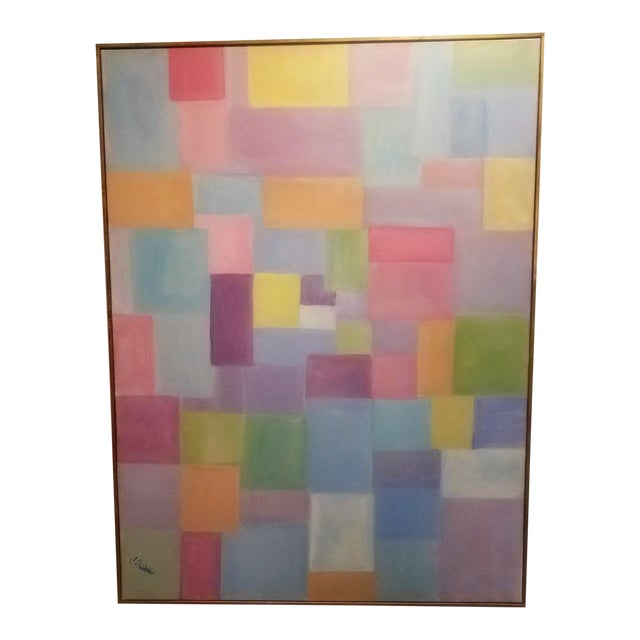 """Original Contemporary """"Patchwork"""" Oil Painting by Christine Frisbee For Sale"""