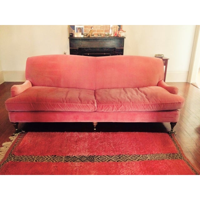 Large pink velvet couch in very good condition. It is comfortable and beautiful! Professionally cleaned and ready to ship...